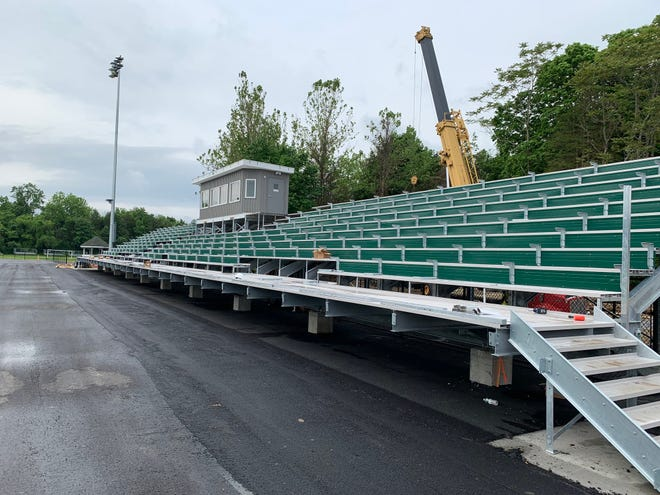 Ground broke on Spackenkill High School's renovation of its football field and the construction is expected to be completed this summer. The new features include a turf field, expanded stands and a press box.