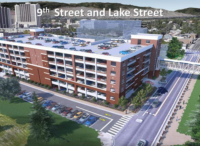 A rendering of what the  new UNR parking garage will look like. It is set to be built at 9th and Lake streets
