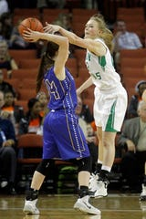 Wall High School's Maddi Chitsey defends Brock's Rachel Harrell during the Class 2A state championship March 1, 2014.