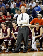 Bronte High School basketball coach Rocky Rawls watches his team during the 2010 state tournament at the Frank Erwin Center at the University of Texas at Austin.