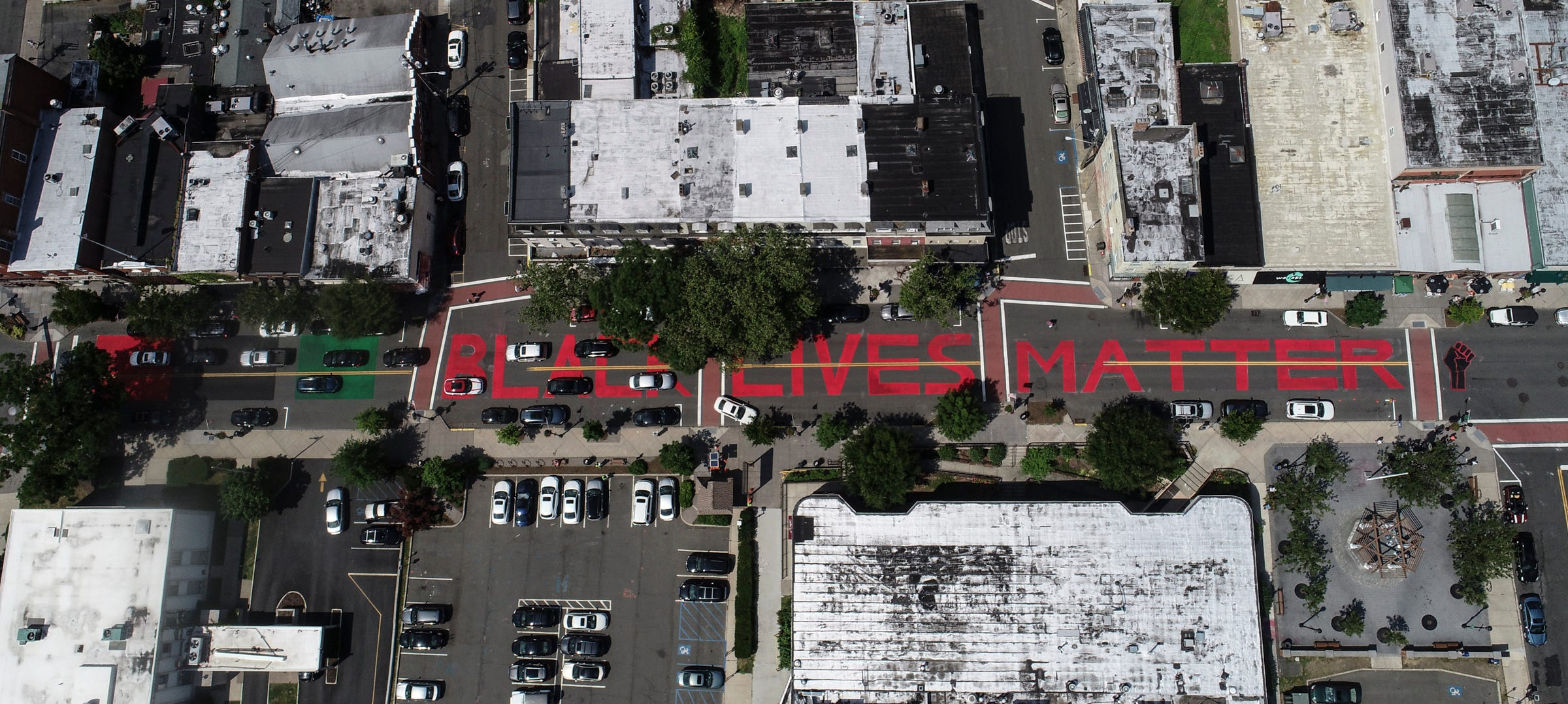 A drone image of a Black Lives Matter mural painted on Main Street in Nyack. Friday, June 19, 2020.