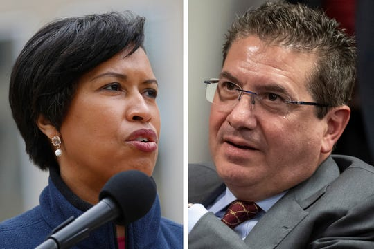 """FILE - These are 2020 file photos showing District of Columbia Mayor Muriel Bowser, left, and Washington Redskins NFL football team owner Dan Snyder, right. The recent national conversation about racism has renewed calls for the Washington Redskins to change their name. D.C. mayor Muriel Bowser called the name an """"obstacle"""" to the team building its stadium and headquarters in the District, but owner Dan Snyder over the years has shown no indications he'd consider it. (AP Photo/File)"""