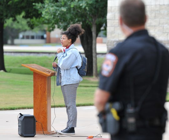 Olivia Roberson spoke to a crowd of people gathered at Burkburnett's Friendship Park Friday at a Juneteenth celebration. Roberson also spoke about police brutality toward Black people.