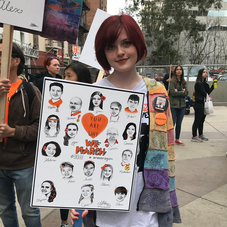 Gracie Pekrul drew portraits of victims and put them on signs for the March For Our Lives.