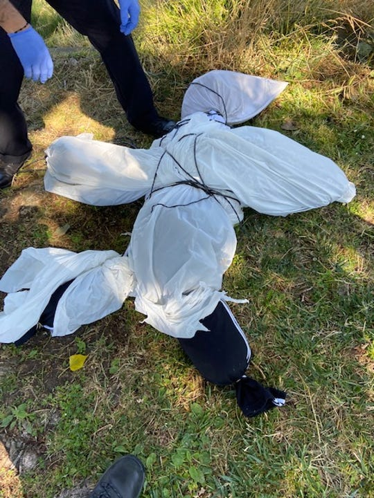 A community member found a human effigy hanging from a tree near Oakland's Lake Merritt on Thursday.