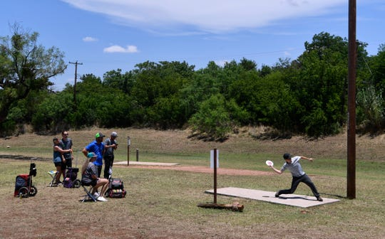Jonathan Jones tees off during Saturday's Abilene Wild Hair disc golf tournament at Will Hair Park June 20. The tournament, presented by Dynamic Discs, was one of the first major tournaments back in Texas following cancellations and postponements due to COVID-19.
