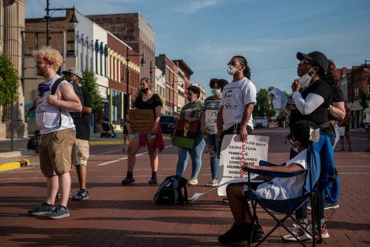 A Black Lives Matter march takes place on Friday, June 19, 2020 in downtown Albion, Mich. The demonstration took place on Juneteenth, the day in which enslaved people in Texas learned they were free in 1865.