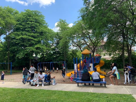 More than a hundred gathered for a Juneteenth celebration on Carroll Street in Binghamton, a park attendees informally dubbed Assata Shakur Park.