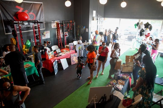 Inside the gym tables lined the walls for businesses to set up shop for a few hours with easy access to their products at a vendor pop-up event for Black-owned businesses at Train 36ixty in Clarksville, Tenn., on Friday, June 19, 2020.