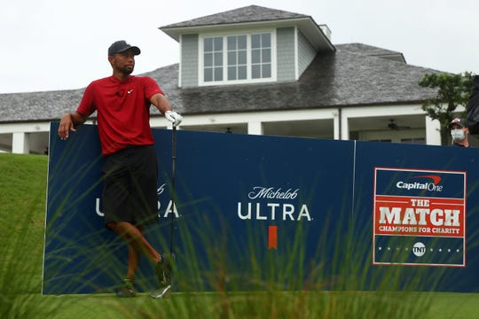 Tiger Woods looks on from the 10th tee during The Match: Champions For Charity at Medalist Golf Club on May 24, 2020 in Hobe Sound, Fla.