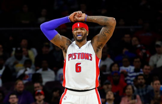 Pistons forward Josh Smith reacts to a call during the first half vs. the Mavericks at the Palace of Auburn Hills, Dec. 17, 2014.