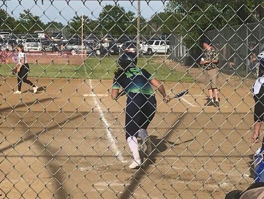 Great Falls High graduate Anna Toon makes her way to first base after ripping an RBI single in the first inning of Falls Fusion's 14-0 win over Havre at the Falls Fusion Tournament Friday at Multi Sports. Toon also belted a two-run homer.