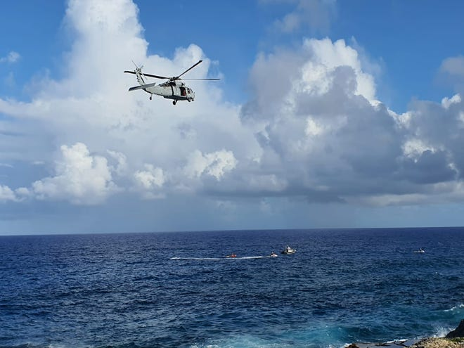 The search for a missing swimmer continues off Marbo Cave area.