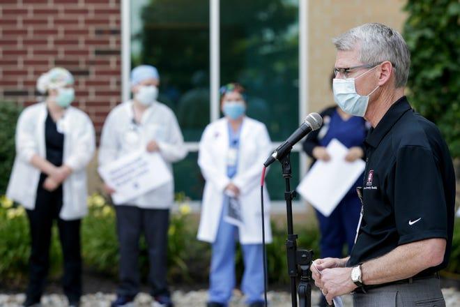 "Daniel Neufelder, president, IU Health West Central Region, speaks during a ""Healthcare Workers for Black Lives"" demonstration outside IU Health Arnett, Friday, June 19, 2020 in Lafayette."