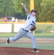 Lockeroom pitcher Carter Graves deals to the plate against Harrison on Friday night.