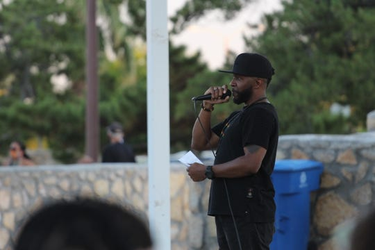 """Christopher Brooks, president of the Black Student Association at NMSU, speaks at the Juneteenth celebration on Friday, June 19, 2020. """"The issues we have going on right now with social injustice and police brutatlity, racism, all these different issues, have been here for so long... If we work collectively, then we can begin to make progress."""""""