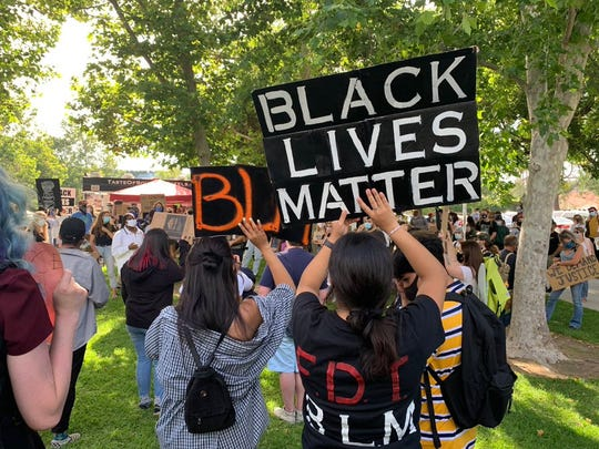 Hundreds of people gathered in Simi Valley late Friday afternoon to mark Juneteenth and support the Black Lives Matter movement.