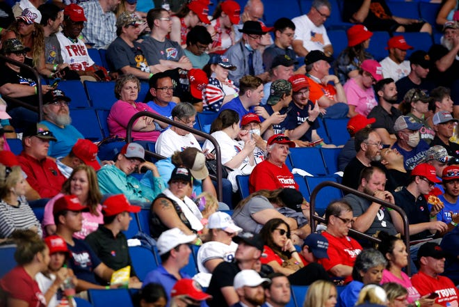 People wait for the arrival of President Donald Trump during a rally at the BOK in Tulsa, Okla., Saturday, June 20, 2020.