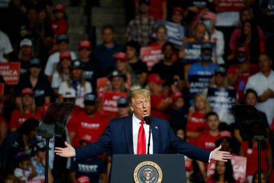 President Donald Trump speaks during a campaign rally in Tulsa, Okla., Saturday, June 20, 2020.