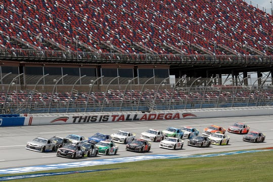 Drivers take the green flag for the start of the NASCAR ARCA race at the Talladega Superspeedway on Saturday.