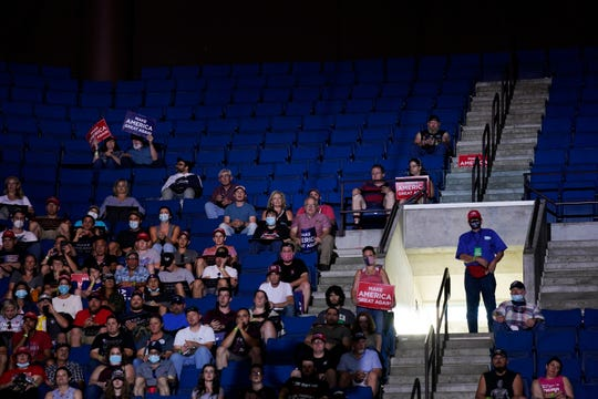 President Donald Trump supporters attend a campaign rally at the BOK Center, Saturday, June 20, 2020, in Tulsa, Okla.