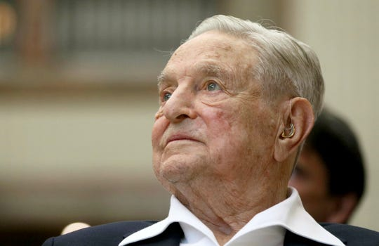 In this June 21, 2019, file photo, George Soros, Founder and Chairman of the Open Society Foundations, looks before the Joseph A. Schumpeter award ceremony in Vienna, Austria.