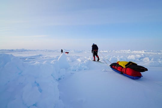 It took seven days for Willard native Sean Swarner and his party to ski 80 miles over floating ice, braving minus-70 degree wind chills, risking frostbite and dragging 150-pound sleds, to reach the North Pole.