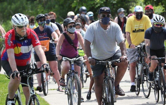 Riders leave Kilbourn Reservoir Park as they embark on the Black is Beautiful Ride in 2020. The third installment of the ride is June 27, 2021.