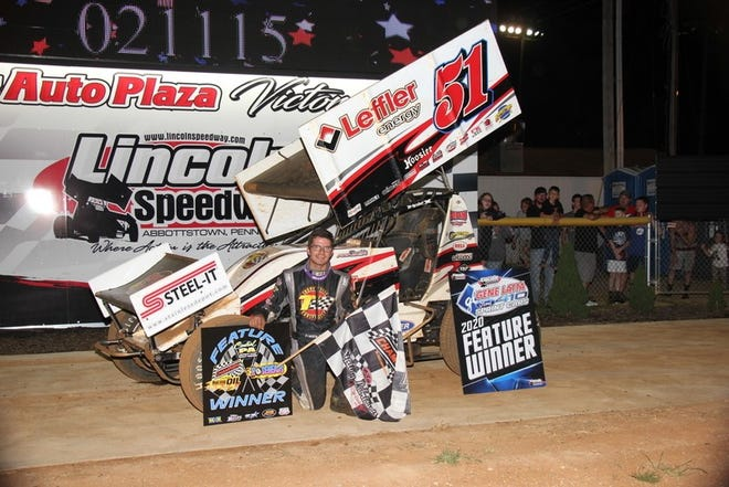 Freddie Rahmer is shown after winning Saturday's 410 sprint feature at Lincoln Speedway on Saturday night. It was his second 410 win in two weeks at Lincoln.