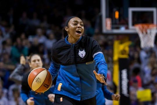 Minnesota Lynx guard Renee Montgomery (21) before the game against the Los Angeles Sparks in Game 5 of the WNBA Finals at Williams Arena.