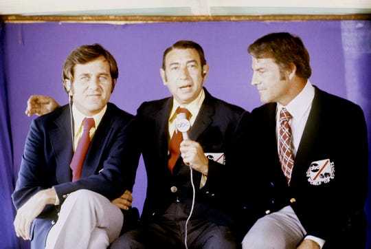 Monday Night Football, with announcers (L-R) Don Meredith, Howard Cosell and Frank Gifford, was required viewing for NFL football fans in the 1970s.