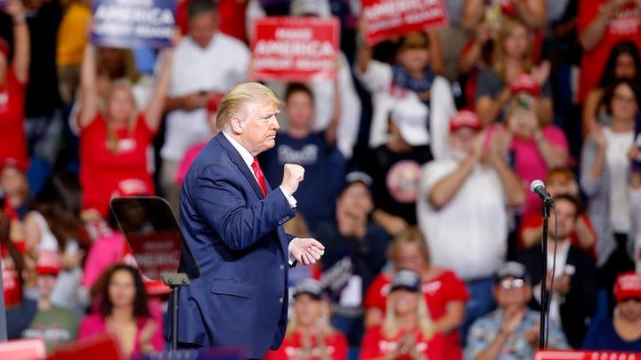 TULSA, OKLAHOMA USA JUNE 20, 2020: President Donald Trump reacts following his speech during a rally at the BOK Center in Tulsa, Okla., Saturday, June 20, 2020. [Sarah Phipps/The Oklahoman] (Via OlyDrop)