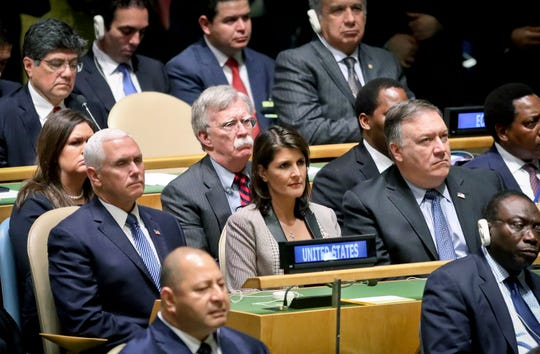 Vice President Mike Pence, National Security Advisor John Bolton, U.N. Ambassador Nikki Haley and Secretary of State Mike Pompeo listens as President Donald Trump addresses the United Nations General Assembly on Sept. 25, 2018.