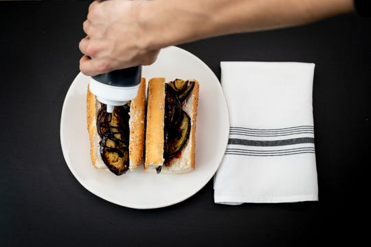 Nonna Paola is a sandwich available on the lunch menu from Valente's Italian Specialties, soon to become Valente's Cucina. The sandwich ($11) features roasted eggplant, roasted peppers, ricotta crema and balsamic glaze.