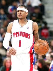 Pistons guard Allen Iverson brings the ball up court against Philadelphia on Dec. 5, 2008, at The Palace of Auburn Hills