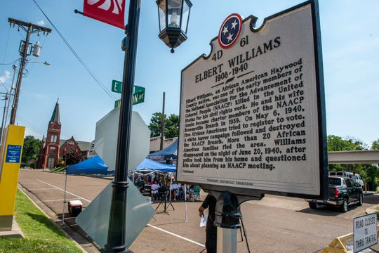 Tennesseans for Historical Justice host an Elbert Williams 80th Anniversary since his death for his civil work with NAACP in Brownsville, Tenn., Saturday, June 20, 2020
