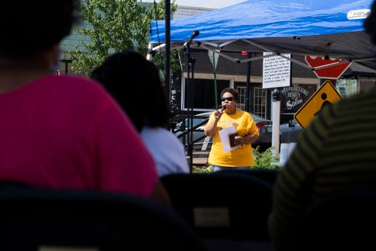Felecie Walker speaks to the Brownsville community in downtown on behalf of the Elbert Williams 80th Anniversary since his death for his civil work with NAACP in Brownsville, Tenn., Saturday, June 20, 2020