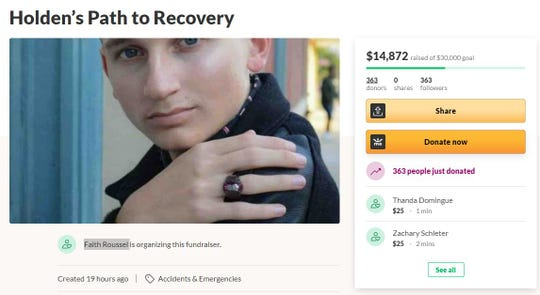 A GoFundMe was created by Holden White's family to raise money for his medical recovery after he was stabbed.