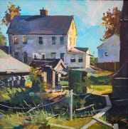 Morning Light Essex by Chris Leeper is one of the featured paintings in the Ohio Plein Air Society Annual Exhibition at the Mansfield Art Center.