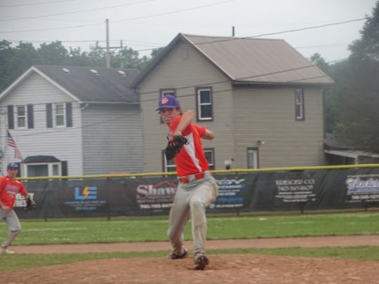 Watkins Memorial's Nate Younker pitches for the Pickerington Big Katz 16U against the Grove City Titans on Sunday during the Nations Ohio state championship game at Don Edwards Park in Newark.