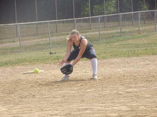 Newark's Chelsea Swonger fields a ground ball during a recent practice for the Ohio Lady Beez 14U at Geller Park. The Beez are primarily a mix of players from Licking and Muskingum counties led by three apiece from Newark and Zanesville.