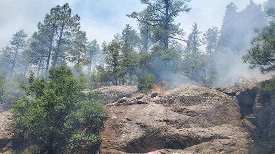 Smoke and flames are visible from the Tadpole Fire in the Gila National Forest Thursday, June 18, 2020.