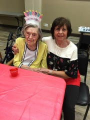 Claudine Holderness (left) and Margaret McClure pose during Holderness' 104th birthday on Feb. 14, 2020. Holderness passed away Thursday in Carlsbad and services are pending.
