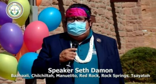 A screenshot shows Speaker Seth Damon talking before signing the proclamation to recognize Diné Pride Week in a live stream on Vimeo on June 22.