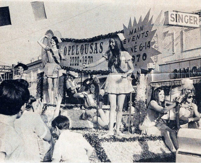 The 250th Anniversary float rolls down Landry Street for he 250th Anniversary Parade held in Opelousas on Saturday, June 13, 1970.