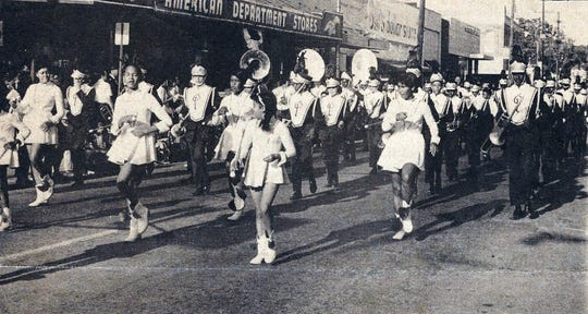 Plaisance Marching Band on Landry Street in downtown Opelousas 50 years ago for the 250th Anniversary Celebration in Opelousas - 1970.