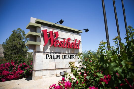 A sign for Westfield mall sits next to Highway 111 on Monday, June 22, 2020 in Palm Desert, Calif.
