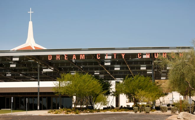 Dream City Church in Phoenix on June 21, 2020, before the Students for Trump event where President Donald Trump will speak at Dream City Church.