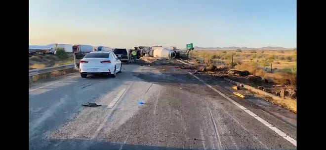 A portion of eastbound Interstate 10 was closed after a cement truck overturned when it collided with an SUV near Riggs Road near Sun Lakes on Monday, June 22, 2020.