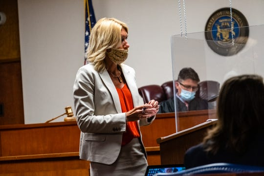 Senior Assistant Prosecuting Attorney Jennifer Deegan questions a witness during an examination hearing Monday, June 22, 2020, in front of St. Clair County District Judge Michael Hulewicz in the 72nd District Court in Marine City.